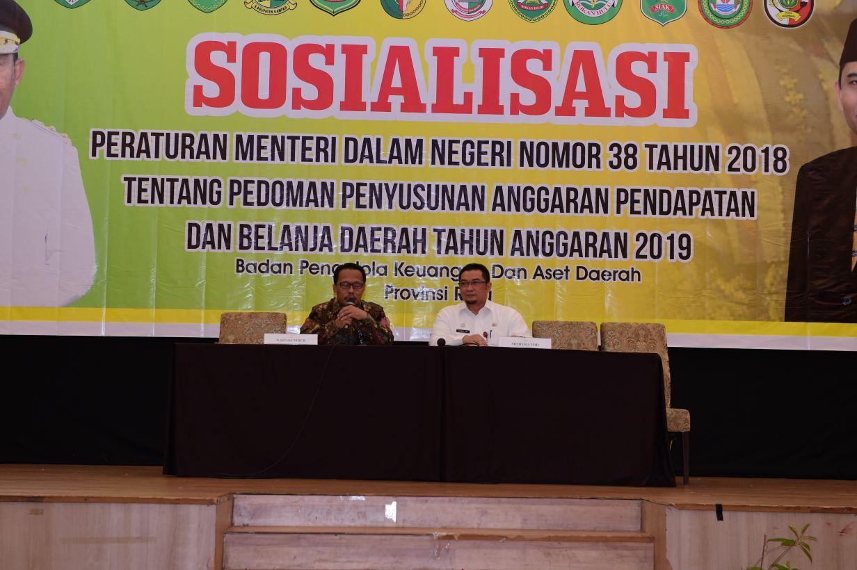 Sosialisasi Peraturan Menteri Dalam Negeri Nomor 38 Tahun 2018 Tentang Pedoman Penyusunan Apbd Tahun Anggaran 2019